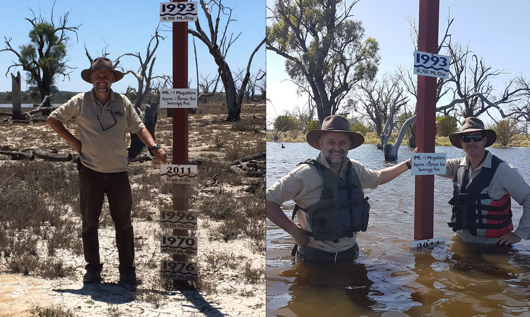 Banrock Station wetland manager Christopher Tourenq by Banrock Station's flood ladder on January 6 (left) and with Tim Field by the flood ladder at the peak on December 20.