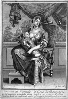 A wet nurse breast feeding the Duke of Burgundy, grandson of Louis XIV. Wellcome Images via Wikimedia Commons, CC BY