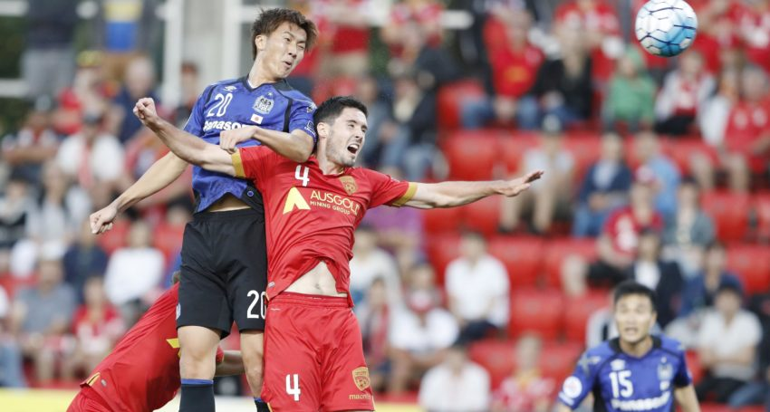 Shun Nagasawa (20) of Gamba Osaka scores with a header against Adelaide United during the first half of an Asian Champions League Group H match at Hindmarsh Stadium in Adelaide, Australia, on Feb. 22, 2017. Gamba won 3-0. (Kyodo) ==Kyodo