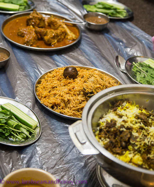 A family meal of lentil soup, Emirati Chicken Machboos, a meat stew called Laham Salona, Tahta Malleh a preserved salted tuna dish – all served with saffron rice. Photo: Amanda McInerney