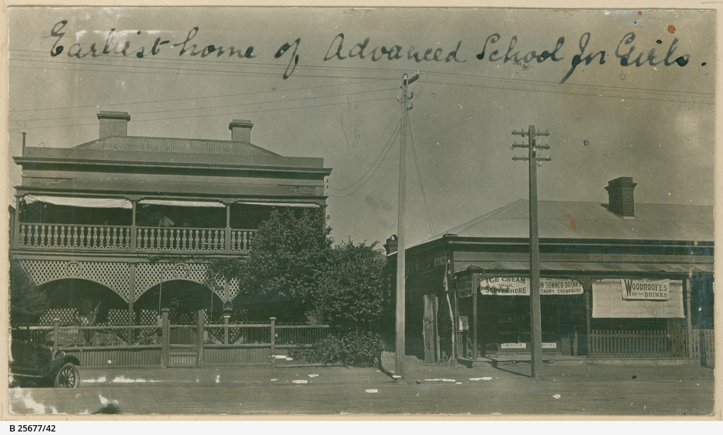View of two buildings with the caption 'earliest home of Advanced School for Girls', c. 1900. Image courtesy of the State Library of South Australia SLSA: B 25677/42