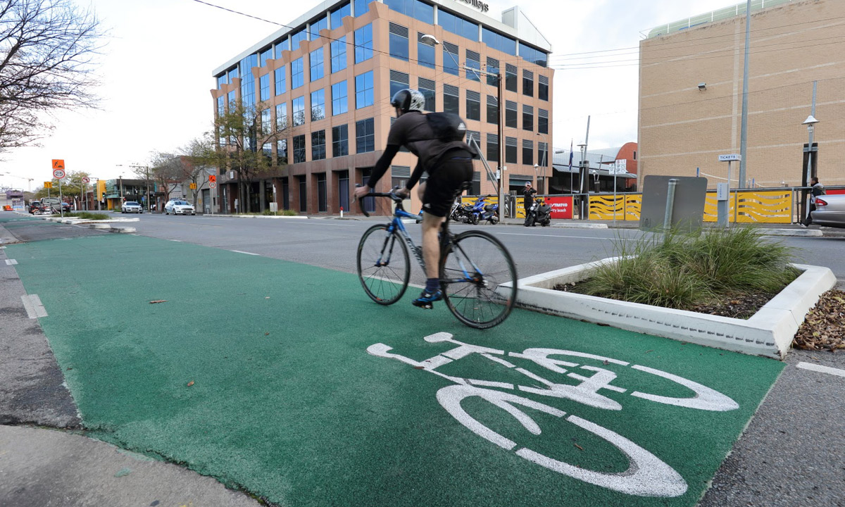 A cyclist travels along Frome Street's controversial bikeway. Photo: Tony Lewis/InDaily