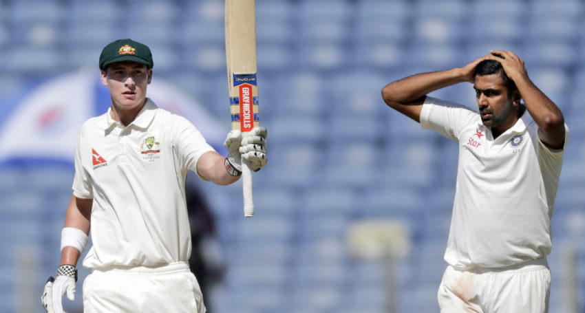 Australia's Matthew Renshaw celebrates his fifty during the first day of the first test cricket match against India in Pune, India, Thursday, Feb. 23, 2017. (AP Photo/Rajanish Kakade)