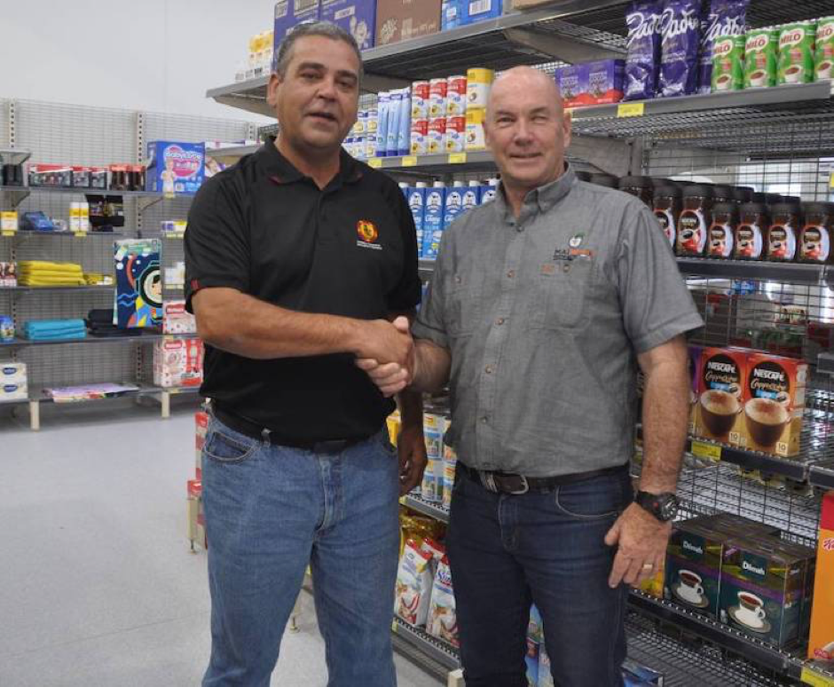 Koonibba Community Aboriginal Corporation CEO Corey McLennan, left, with Mai Wiru CEO Dennis Bate at the store's official opening. Photo courtesy ofLuca Cetta, West Coast Sentinel.
