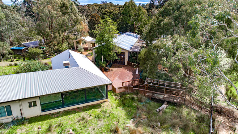 An aerial view of Warrawong, located on Stock Road, Mylor, in the Adelaide Hills