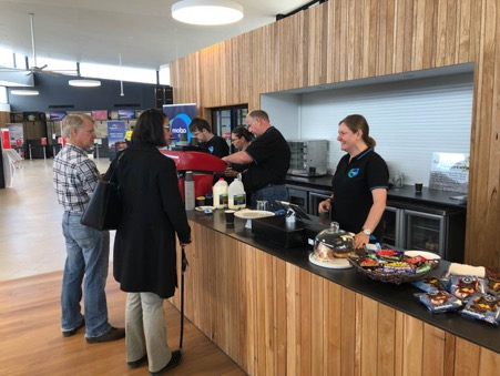 Airline passengers order coffee at the newly opened café run by the Mobo Group at the Kangaroo Island Kingscote Airport.