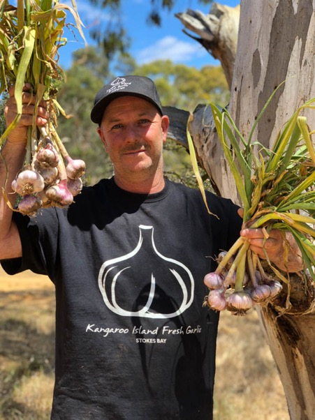 Shane Leahy of Kangaroo Island Fresh Garlic based at Stokes Bay on the island.
