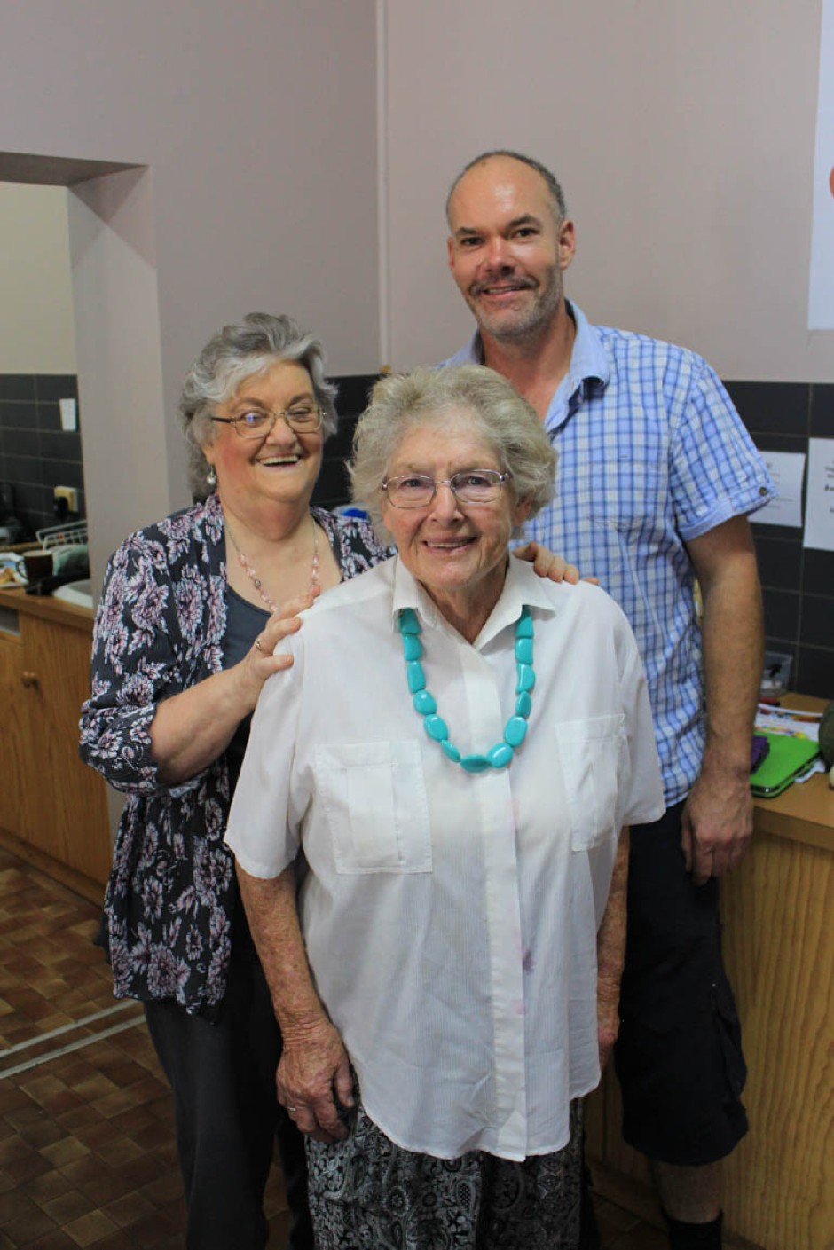 Former Tatiara Work Centre President Rosalie Crocker, TWC Oldest active member Marjorie Badman and Secretary / Treasurer Shaun Taylor at the 50th Anniversary celebrations.