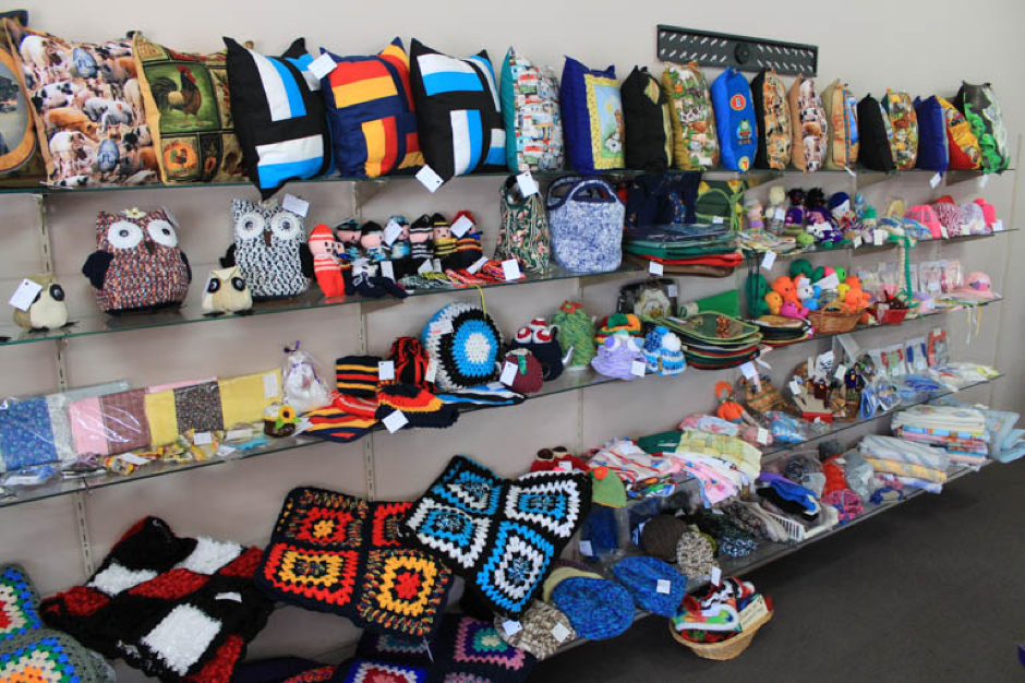Array of homemade craft items of display at the Tatiara Work Centre.